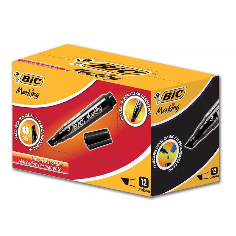 Pincel Atômico BIC Recarregável Preto Com 12 Un 904386 20948