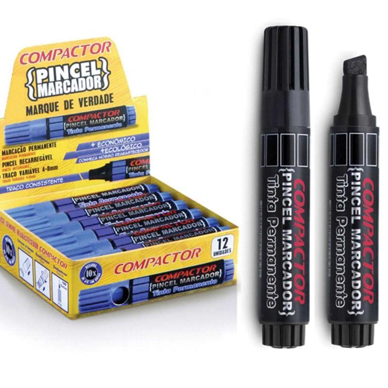 Pincel Marcador Permanente Compactor Recar Preto 12 Un 882004 26586