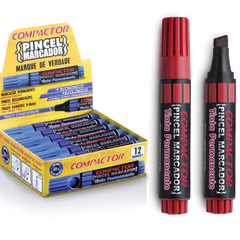 Pincel Marcador Permanente Compactor Recar Vermelho 12 Un 882002 26587