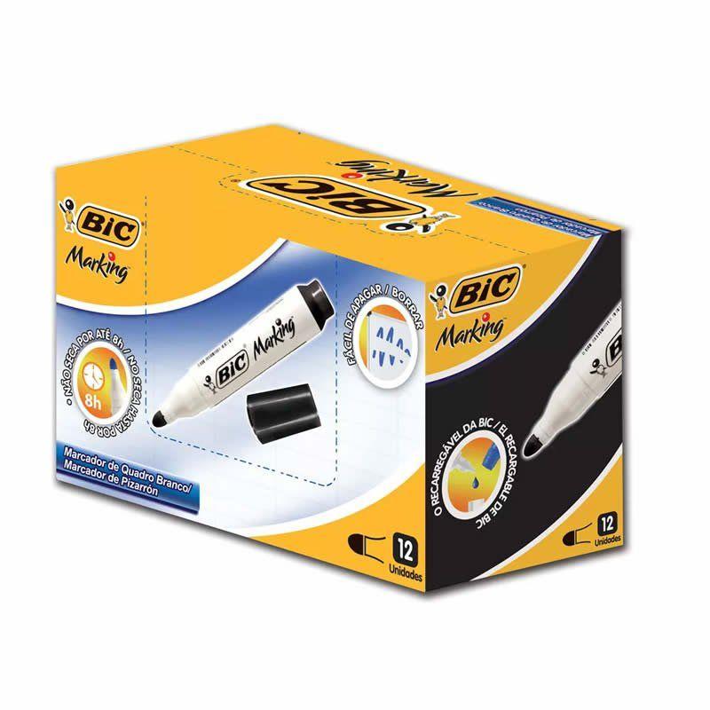 Pincel para Quadro Branco BIC Recarregável Preto 12 Un 904400 20038