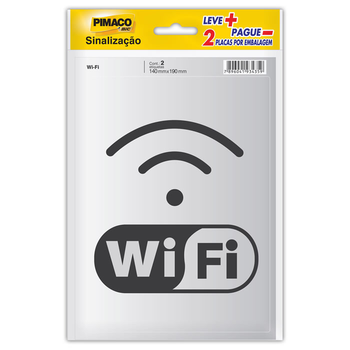 Placa de Sinalização Adesivo Pimaco 14X19Cm Internet Wi-Fi 15717