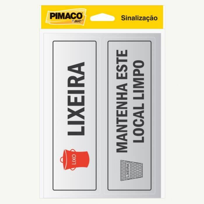 Placa de Sinalização Adesivo Pimaco 6,5X20Cm Lixeira/Local Limpo 15723