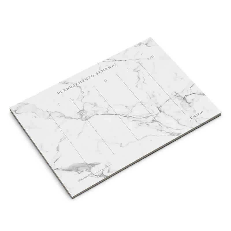 Planner 2019 Semanal Cicero Marmore Branco 24,5X16,5 5132 26572