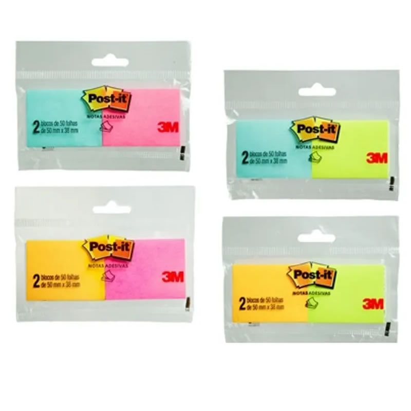 Post-It 3M 38mm X 50mm Cores Sortidas 2 Blocos Com 50 Fls Hb004604367 27991
