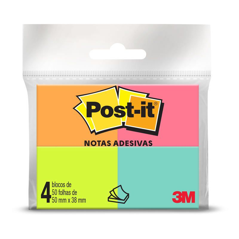 Blocos de Notas Adesivas Post-it® Tropical - 4 Blocos de 38 mm x 50 mm - 50 folhas cada 22670