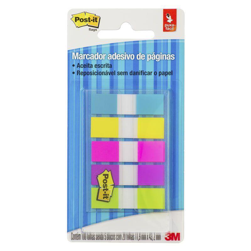 Marcador de Página Adesivo Post-it® Flags 5 Cores Neon 11,9 mm x 43,2 mm - 100 folhas 24021