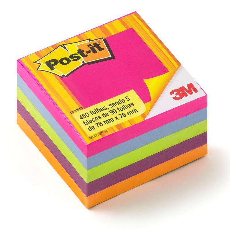 Bloco de Notas Adesivas Post-it® Cubo Tropical 76 mm x 76 mm - 450 folhas 23206
