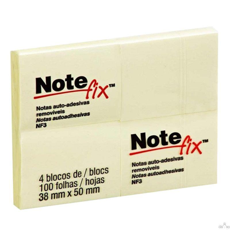 Bloco Adesivo Notefix™ Amarelo - 38mm x 50mm - 4 Blocos 100 folhas 12835