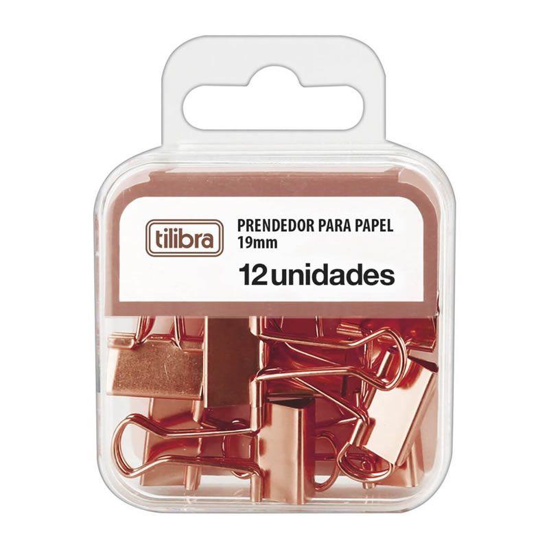 Prendedor de Papel Tilibra Binder 19mm Rose Com 12 Un. 276529 27474