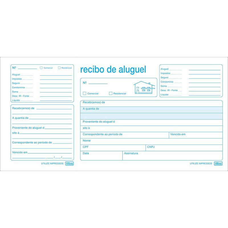Recibo Aluguel Com Canhoto 216X108Mm 50 Folhas 151432 Tilibra 01667