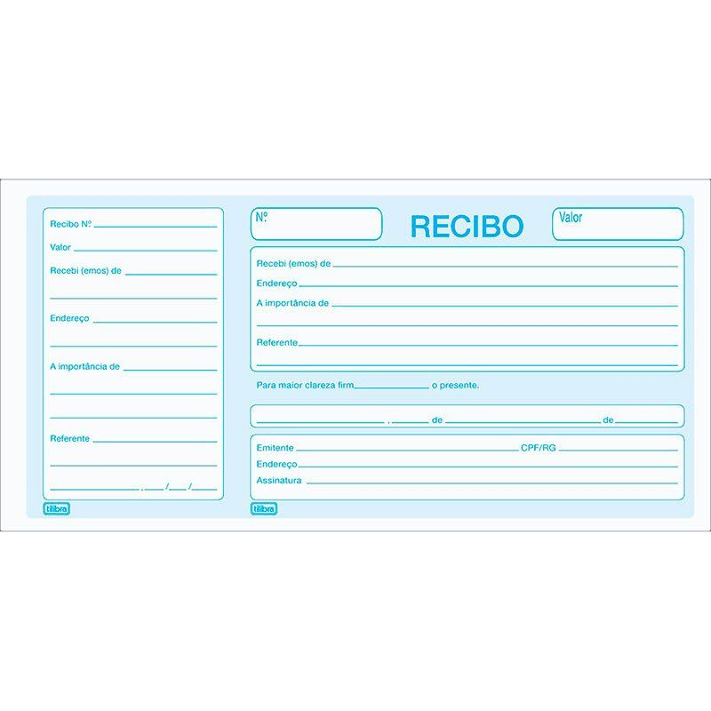 Recibo Comercial com Canhoto Tilibra 50 Fls 151459 01665