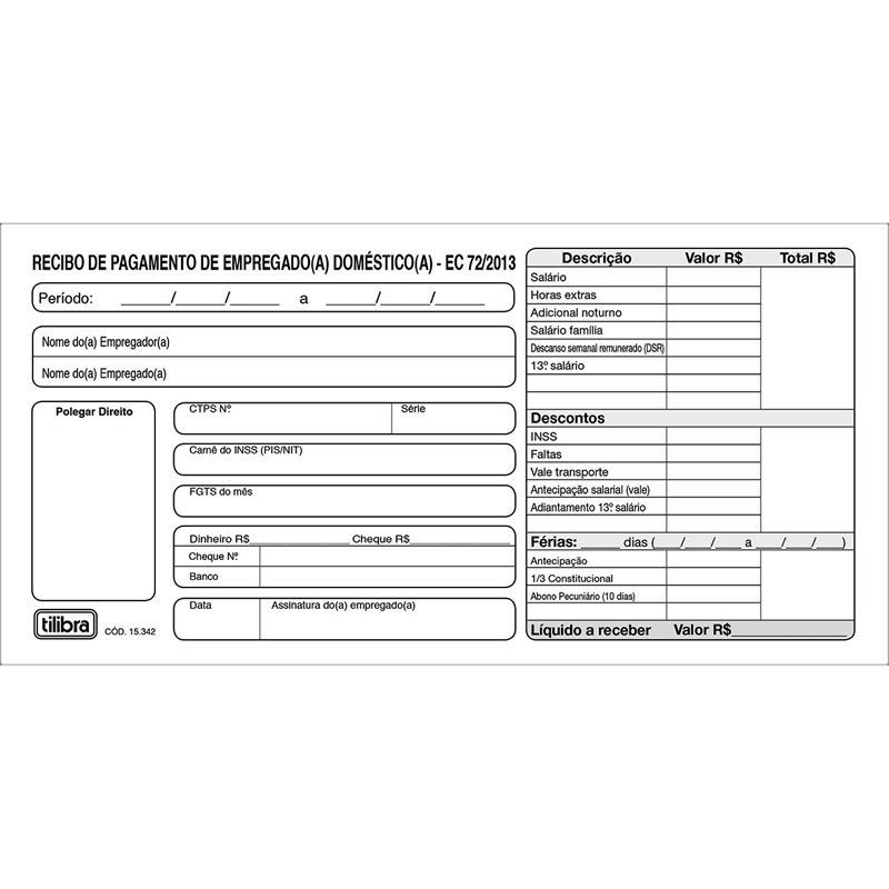Recibo Pagamento Empresarial Domestico 2 Vias 153427 Tilibra 01688