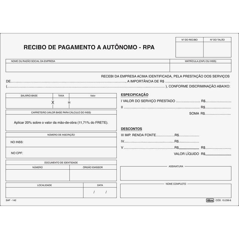 Recibo Tilibra Pagamento Autonomo RPA 3 Vias Com 25 Jogos 152366 01683