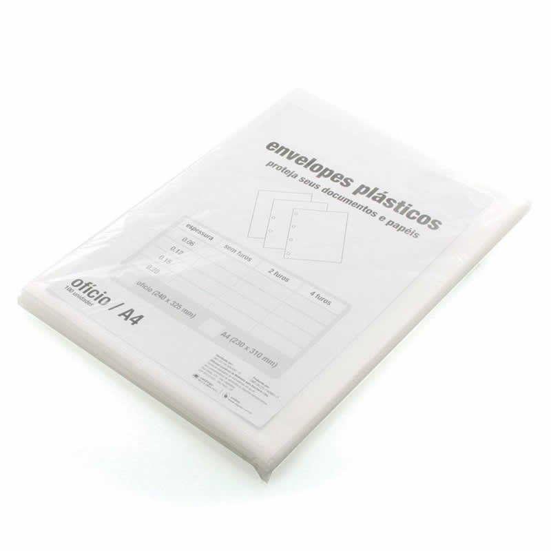 Saco Plastico ACP 0.20 Com 4 Furos Oficio (240X325) 100 Un. Mg20/1004F 07909