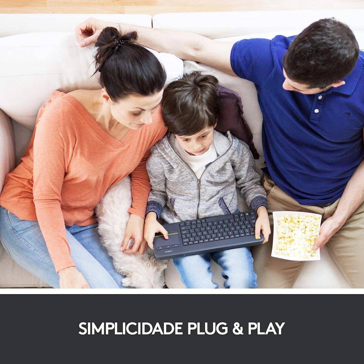 Teclado Logitech K400 Plus Sem Fio Para Smart TV Touchpad 24583