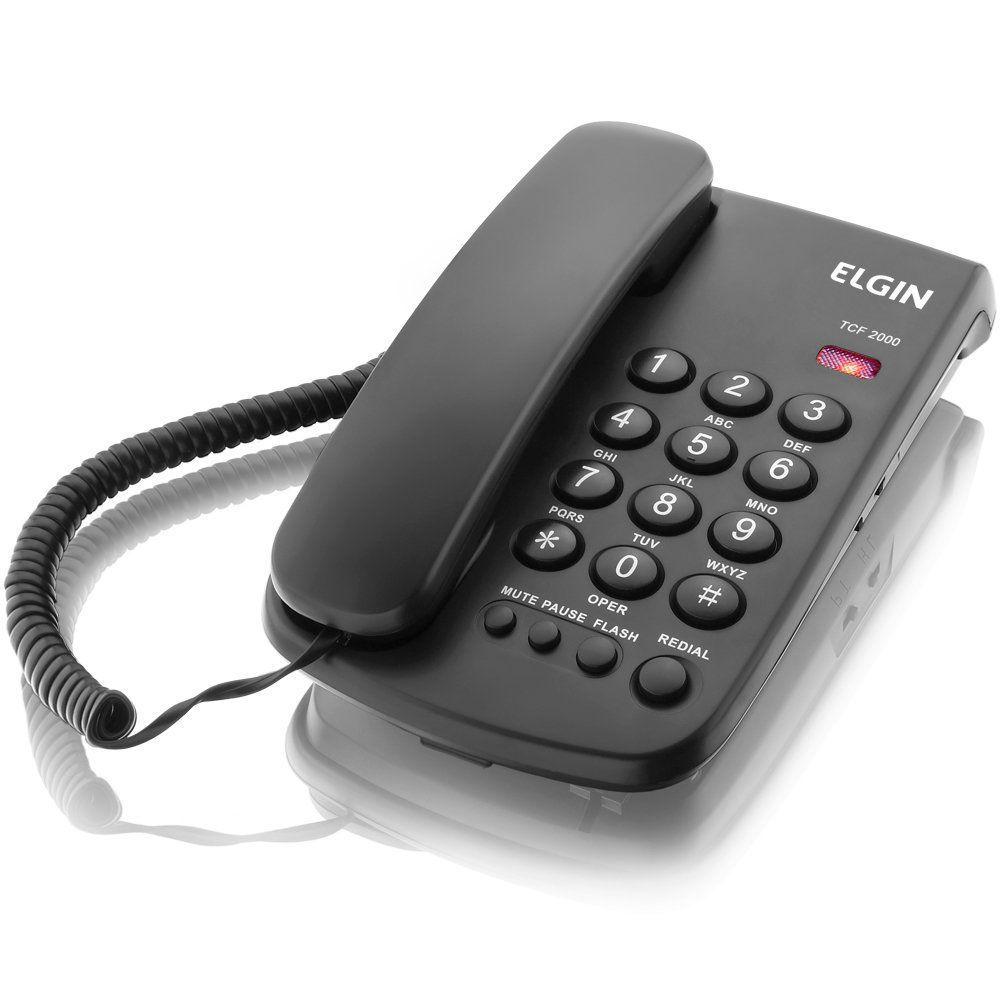 Telefone Elgin Com Chave e Sinalizador de Chamada Preto Tcf2000 19280