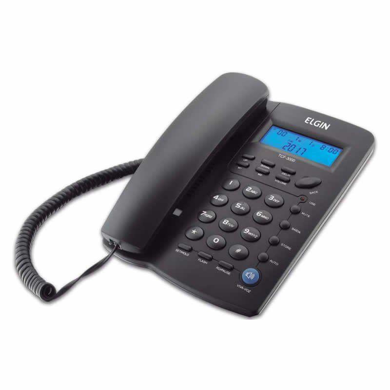 Telefone Elgin Com Fio Identificador Chamada / Viva Voz / Preto TCF3000P 14688