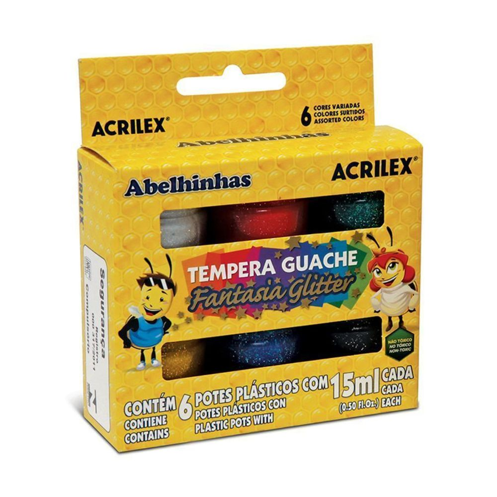Tinta Guache Acrilex 15ml 6 Cores Fantasia Glitter 02001 16946