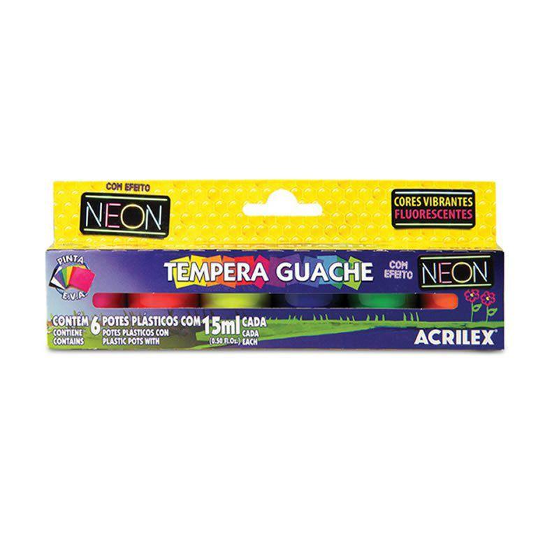 Tinta Guache Acrilex 15Ml 6 Cores Neon 01006 14246