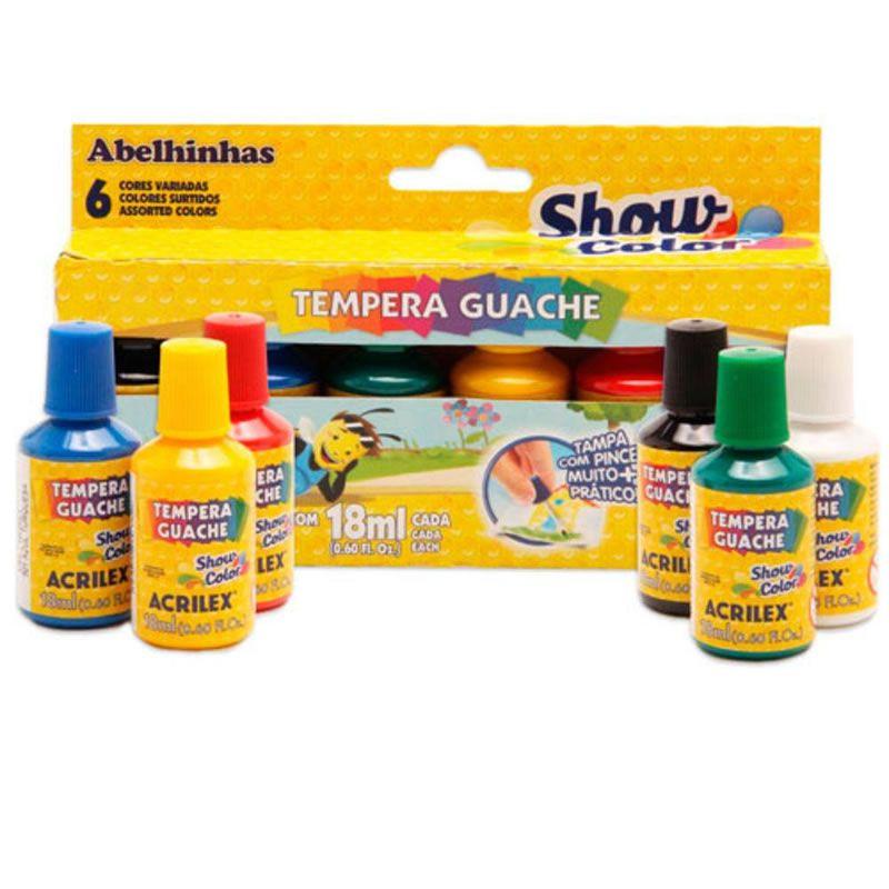 Tinta Guache Acrilex 18Ml 6 Cores Color Show 26500