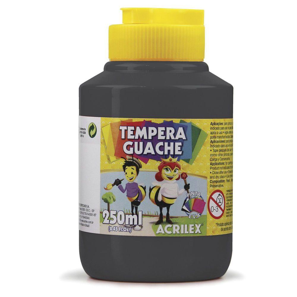 Tinta Guache Acrilex 250ml Preto 520 02025 03964