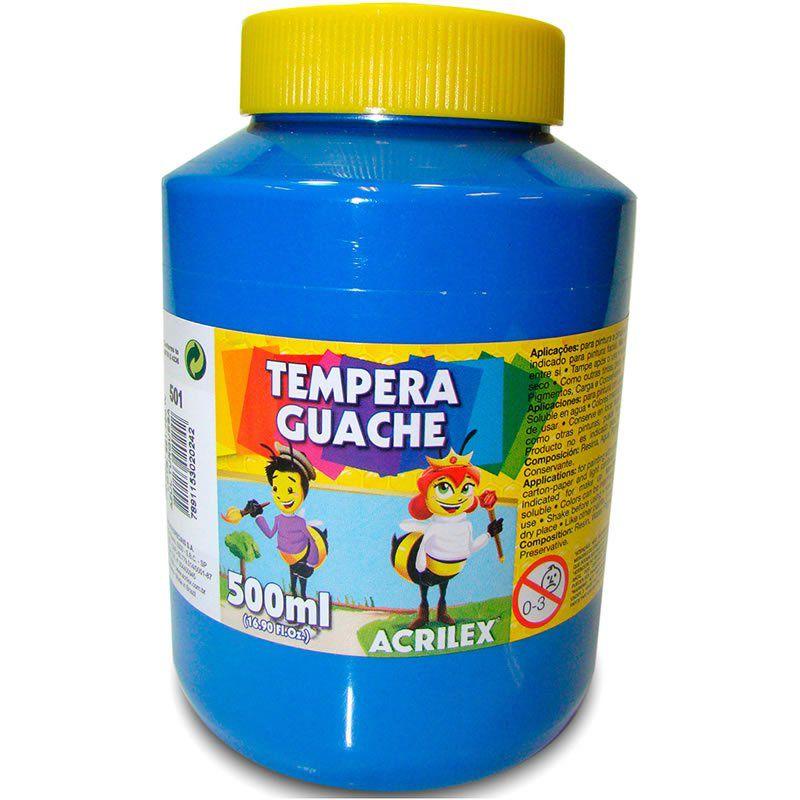 Tinta Guache Acrilex 500Ml Azul Turquesa 501 020500501 25234