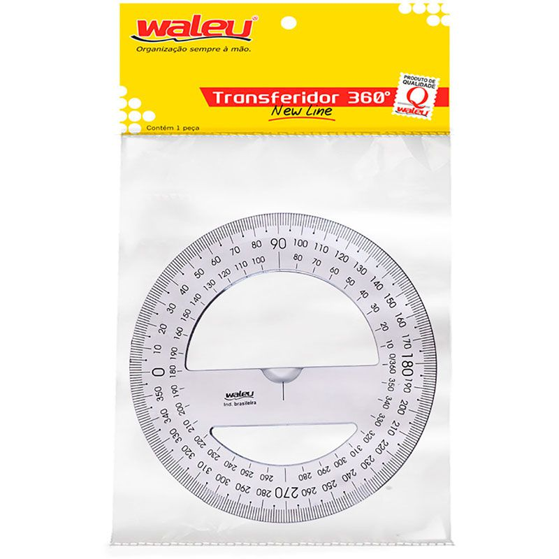 Transferidor Waleu 12Cm 360 Graus Individual Bl. 490 16142