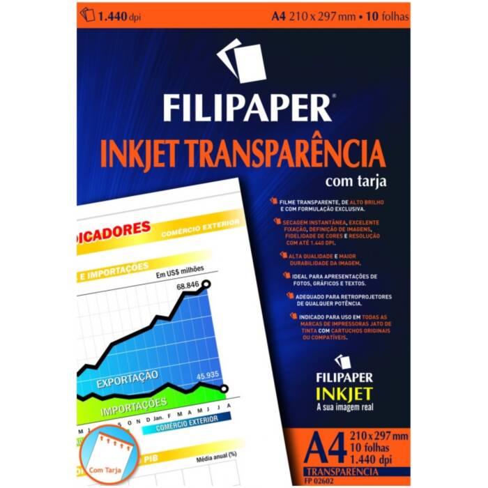 Transparência Jato de Tinta A4 com Tarja Env com 10 Fls 02602 Filipaper 11526
