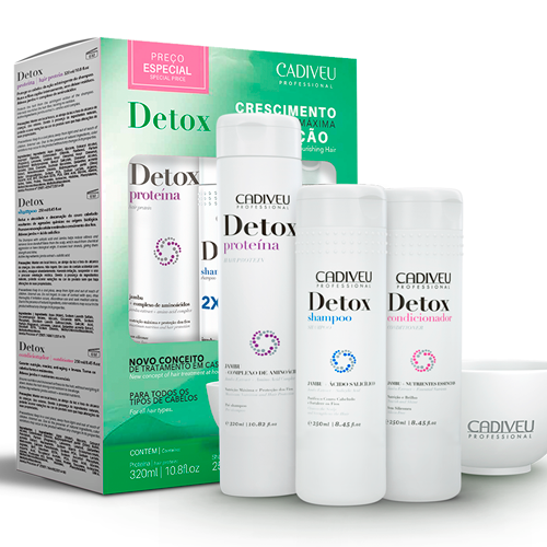 Detox - Kit Home Care (Proteína, Shampoo e Condicionador)