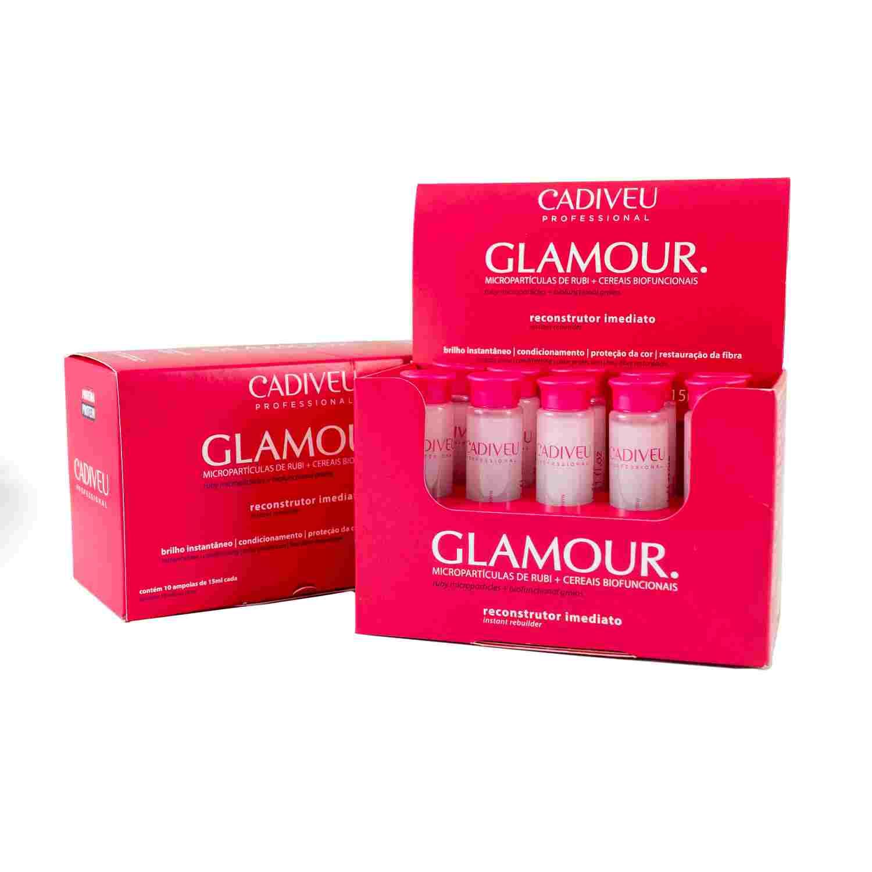 Glamour Rubi Reconstrutor Imediato - Ampola de Reconstrução 10x15ml - Cadiveu Professional