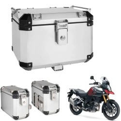 Kit Bauletos 43L V-Strom DL 1000 Aluminio Escovado Bráz