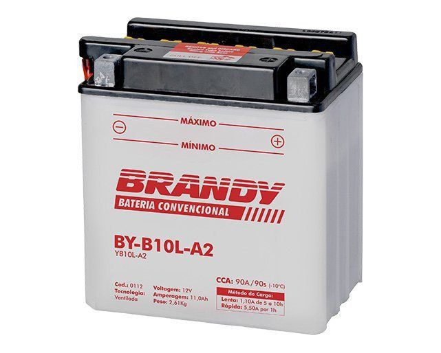 Bateria com Solução Brandy BY-B10L-A2 Titan Intruder Virago  - Motorshopp
