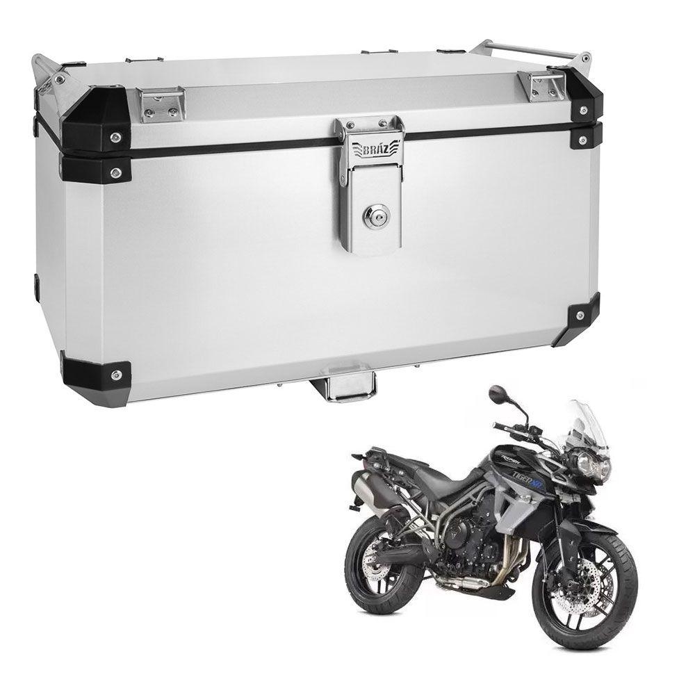 Bauleto Atacama 55L Tiger 800 Aluminio Escovado Top Case Bráz