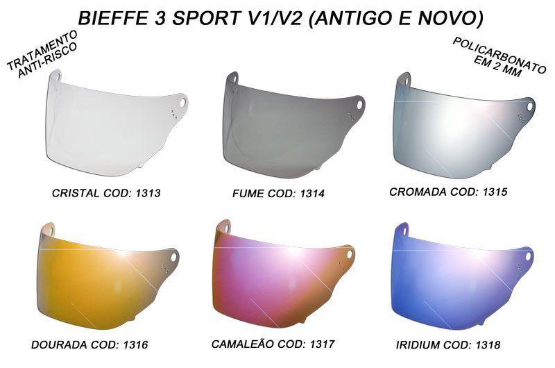 Viseira para capacete Bieffe 3 Sport V1 V2  antigo e novo