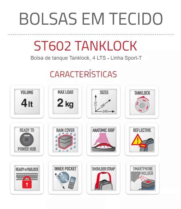 Bolsa de Tanque Sport 4L Tanklock Givi  - Motorshopp