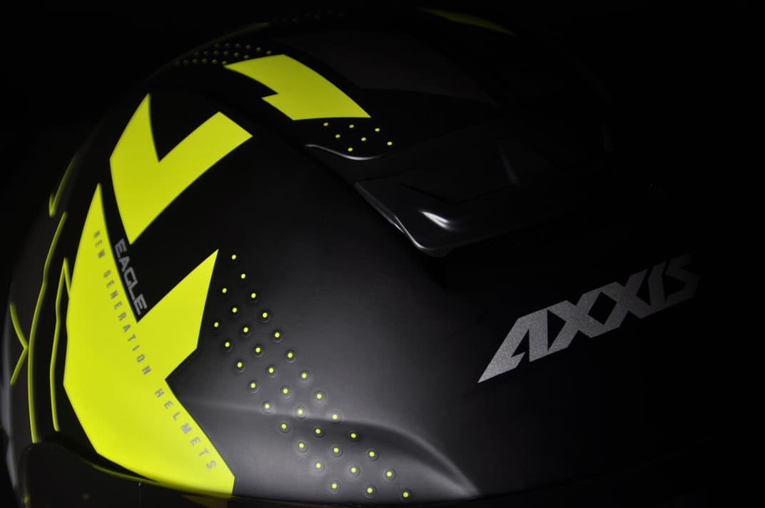 Capacete Eagle Diagon Preto e Amarelo Fosco Axxis