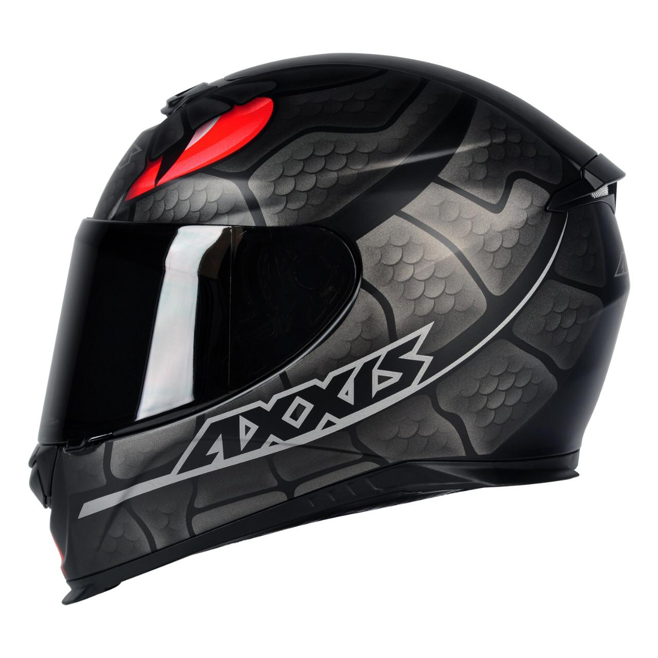 Capacete Eagle Snake Preto e Cinza Fosco Axxis  - Motorshopp