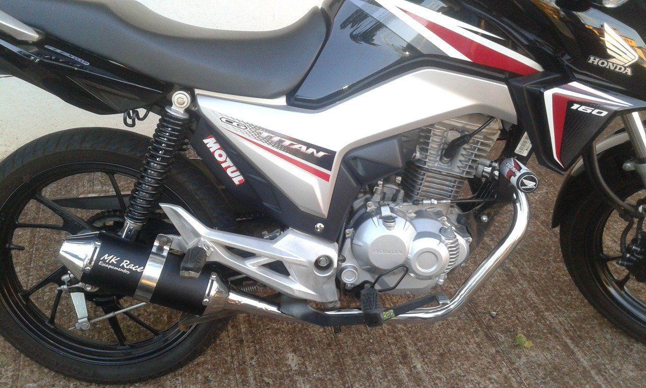 Escapamento Esportivo Fan 160 Titan 160 Preto MK Race  - Motorshopp