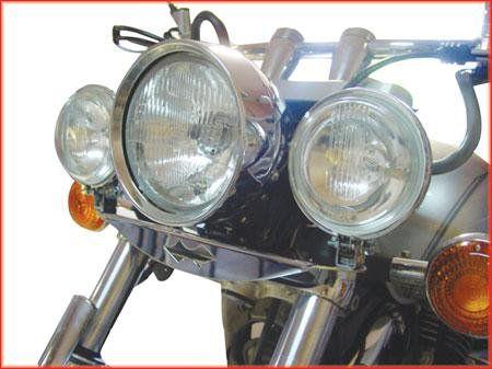Jogo de Farol Auxiliar Roncar c  abas + suporte cromado  Drag Star 650  - Motorshopp