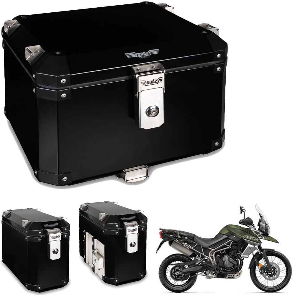 Kit Bauletos 43L Tiger 800 18/19 Aluminio Preto Bráz