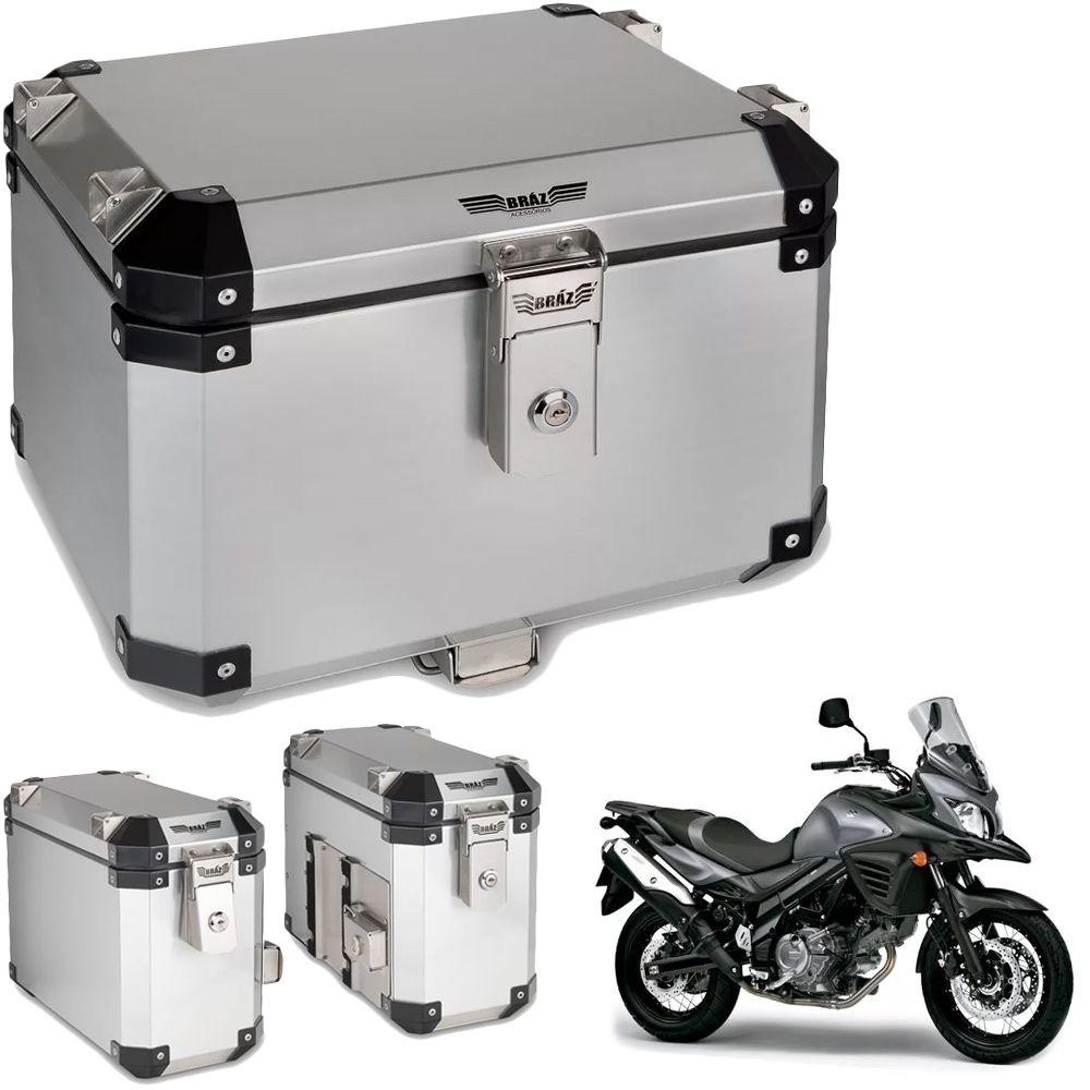 Kit Bauletos 43L V-Strom DL 650 Aluminio Escovado Bráz  - Motorshopp