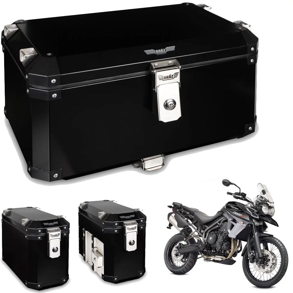 Kit Bauletos 55L Tiger 800 Aluminio Preto Bráz