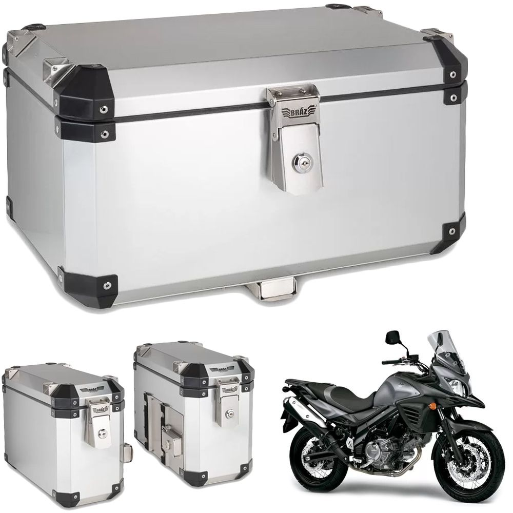 Kit Bauletos 55L V-Strom DL 650 Aluminio Escovado Bráz  - Motorshopp