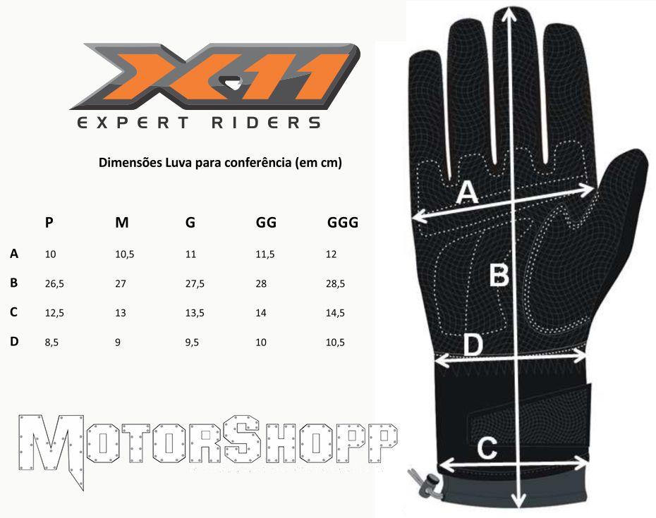Luva Motociclista X11 Blackout Meio Dedo Feminina  - Motorshopp
