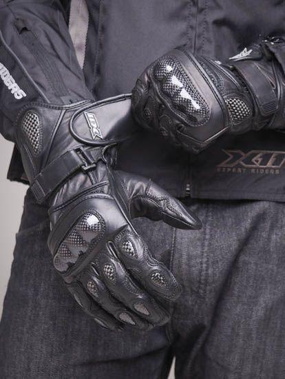 Luva Motociclista X11 Racer Cano Longo Couro e Carbono