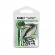 Anzol Crown Wide Gap para Robalo ou Corvina Black Número 1 Cartela com 10 Unidades