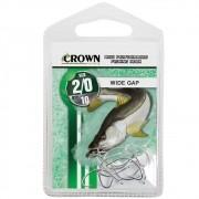 Anzol Crown Wide Gap para Robalo ou Corvina Niquel Prata Número 2/0 Cartela com 10 Unidades
