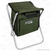 Banqueta Com Bolsa 13L Dobrável para Pesca e Camping Jogá Cor Verde em Aço Suporta até 105 kg