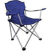 Cadeira Retrátil com Encosto de Braço para Pesca Jogá Cor Azul em Aço Suporta 120 kg