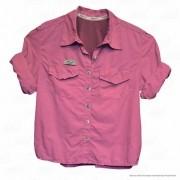 Camisa de Pesca Feminina Ballyhoo Crisis Cor Rosa Com Filtro UV até 50 UPF